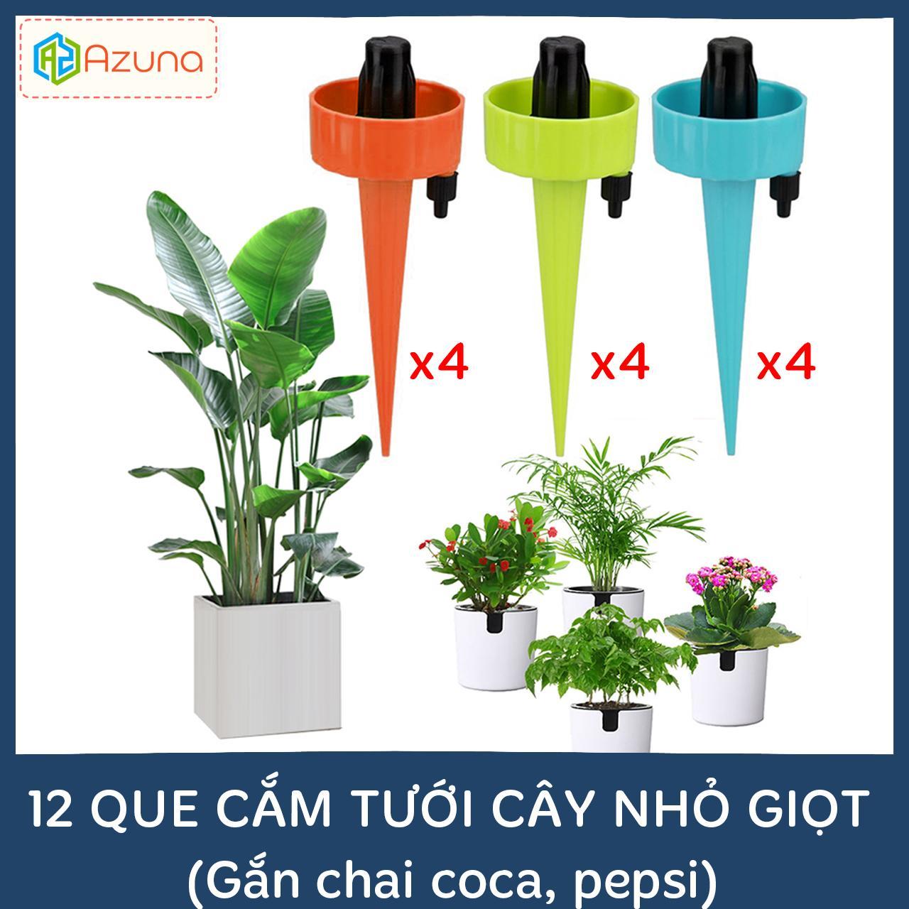 Set 12 que cắm tưới cây nhỏ giọt (gắn chai coca, pepsi, dễ dàng điều chỉnh lượng nước tưới cây cảnh)