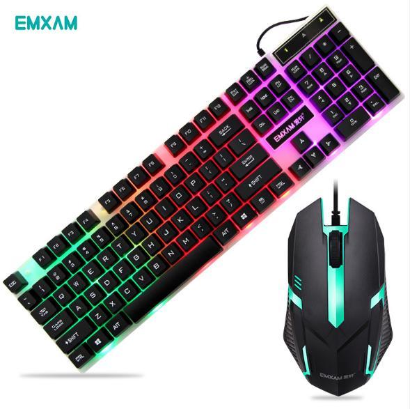 Bộ bàn phím giả cơ+ Chuột EMXAM V5 đèn led thiết kế game thủ