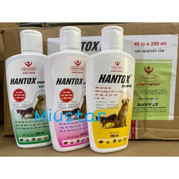 Sữa Tắm  Ve Rận Bọ Chét Chó Mèo Hantox Shampoo 200ml - chai vàng