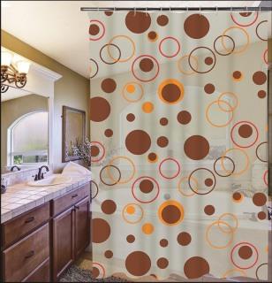 Rèm phòng tắm 1.8m có kèm móc chấm tròn bự nâu thumbnail