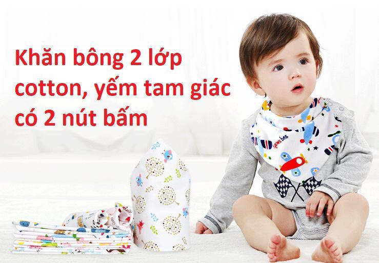 Khăn yếm tam giác cotton 2 lớp có nút bấm tiện lợi cho bé