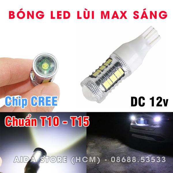 01 Bóng đèn lùi T15 T10 LED thấu kính max sáng DC 12v 12w
