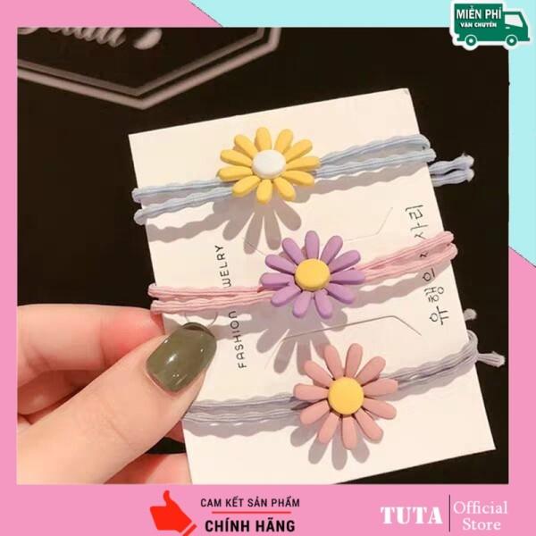 TUTA - Combo 3 dây cột tóc hoa cúc nhiều màu dây thun buộc tóc nữ Hàn Quốc đẹp dễ thương DCT2