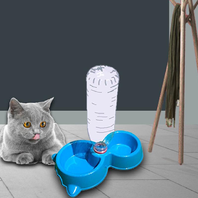 Khay ăn uống tự động cho chó mèo thú cưng – Bát ăn đôi kèm máng nước