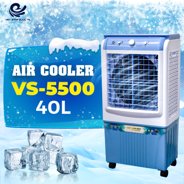 Quạt hơi nước VIET STAR VS-5500 - điều hòa không khí - Công suất 130W - Dung tích 40L -Làm lạnh 4 chiều, tiện dụng - Tặng 2 đá khô- Hàng chính hãng bảo hành lên đến 12 tháng.