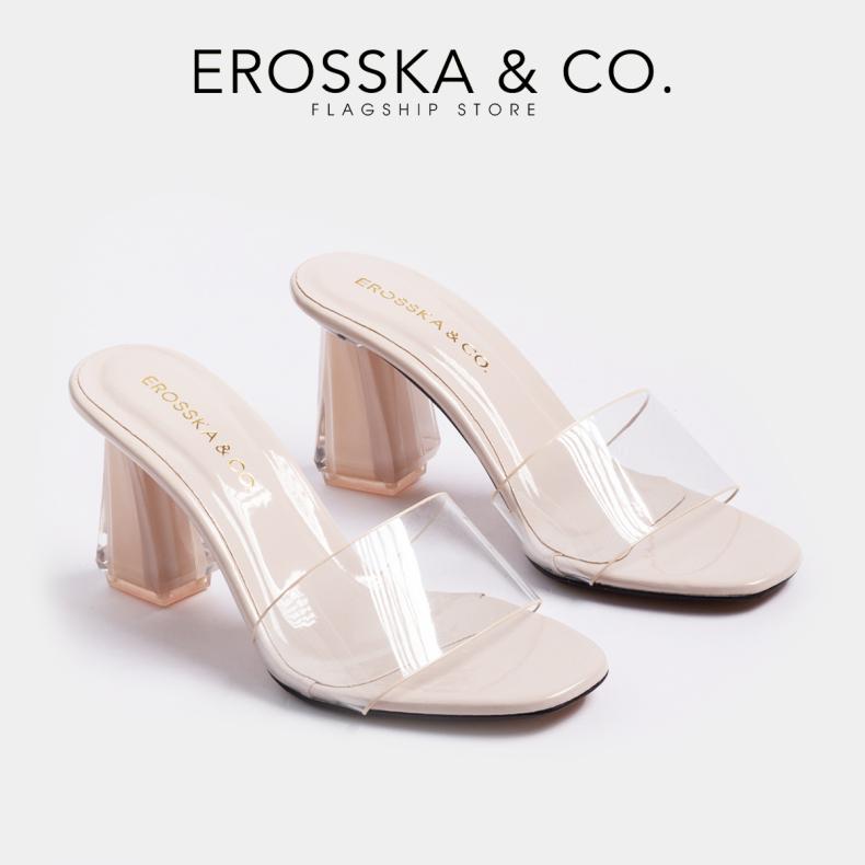 Dép nữ, dép cao gót Erosska quai trong kiểu dáng đơn giản thời trang thanh lịch cao 9cm - EM040(BA) giá rẻ