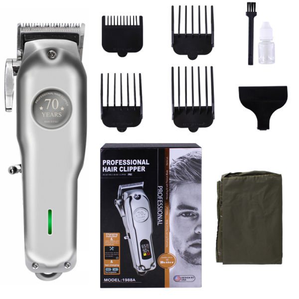 70th anniversary Silver Rechargeable Hair Clipper Cordless Electric Hair Trimmer Professional Haircut Shaver Beard Shaver Machine All Metal