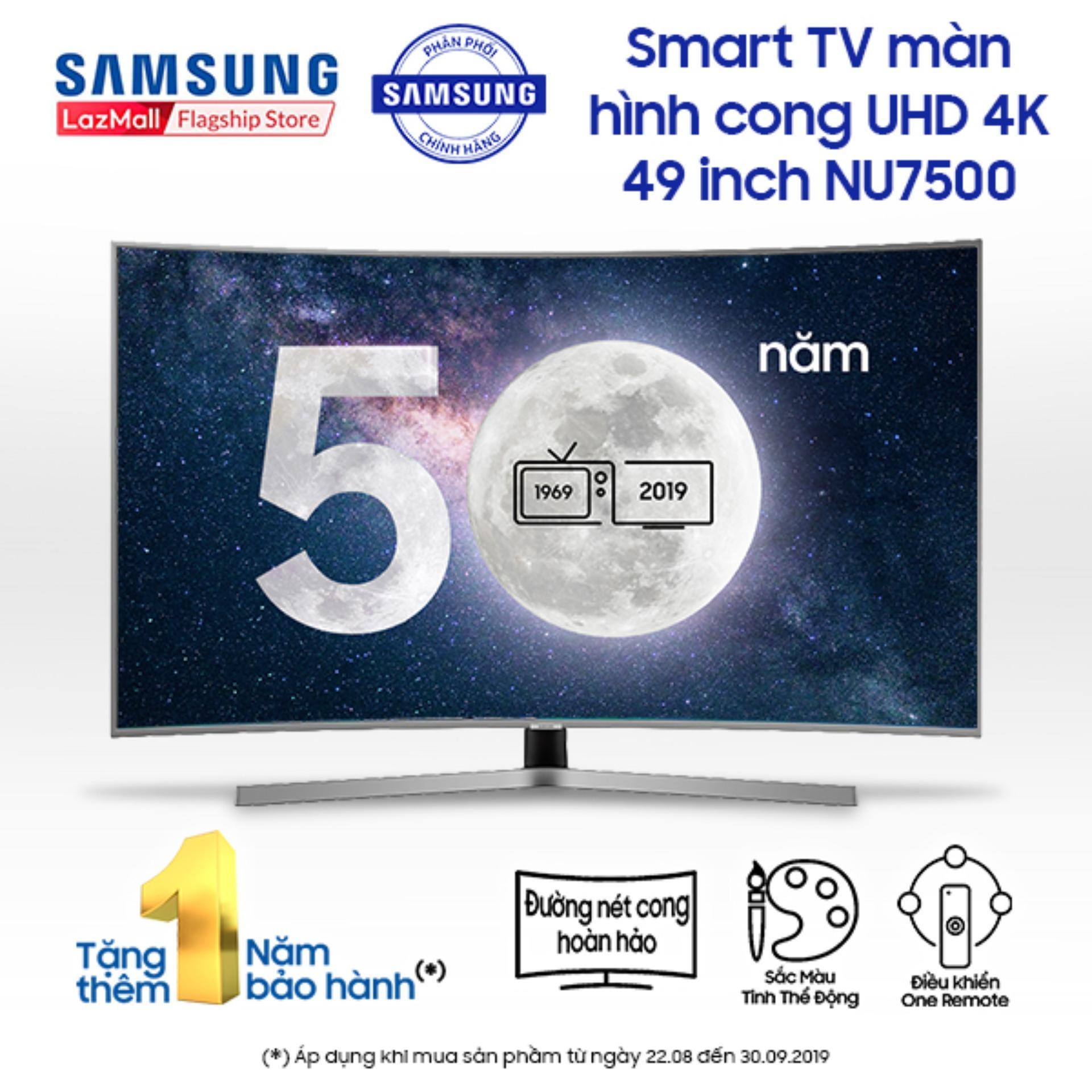 Smart TV Samsung LED màn hình cong 49inch 4K Ultra HD - Model UA49NU7500KXXV (Đen) - Công nghệ hình ảnh HDR, PurColour + Độ tương phản cải tiến UHD Dimming + Kết nối với thiết bị di động + Steam Link - Hãng phân phối chính thức