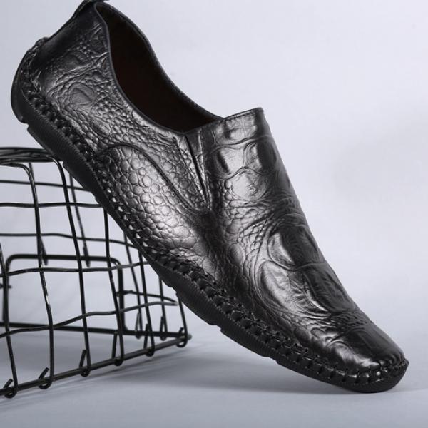 Giày mọi nam da bò vân cá sấu đế cao su khâu