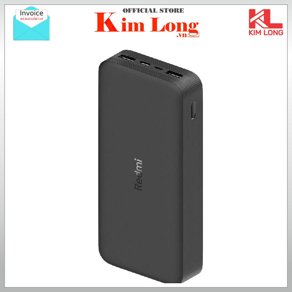 Sạc dự phòng Xiaomi Redmi 20000 mAh - Sạc nhanh Max 18W - Input: Micro USB & Type-C / Output: USB-A x2 - Hãng phân phối