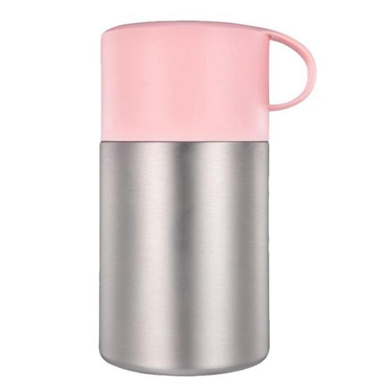 600Ml Stainless Steel Vacuum Bottle Food Jar Braised Beaker Thermal Stew Pot Insulation Soup Thermoses With Portable Folding Spoon