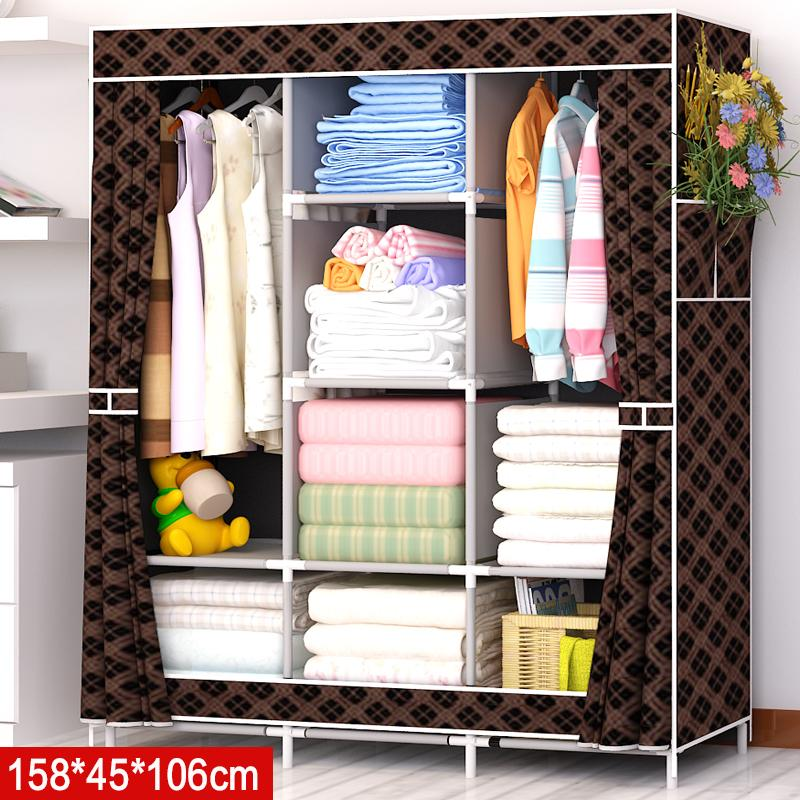 LEHUOSHIGUANG Simple Wardrobe Fabric bu yi chu Assembly Steel Pipe Reinforced Steel Frame Modern Minimalist Dustproof Storage Cabinets