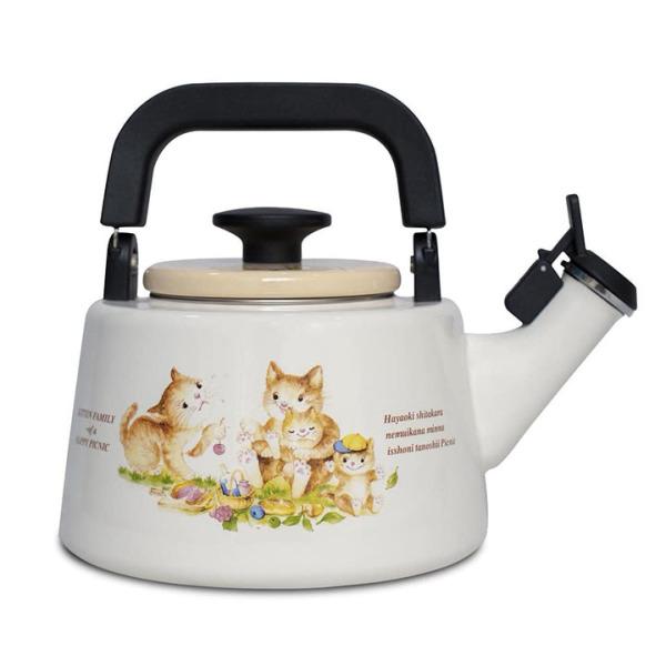 Ấm đun nước tráng men cao cấp Nhật Bản Fujihoro,Hoa Văn Con mèo, KIT-2.2K, nhập khẩu Thái Lan , bảo hành 2 năm,tương thích mọi bếp , bếp từ , gas, hồng ngoại