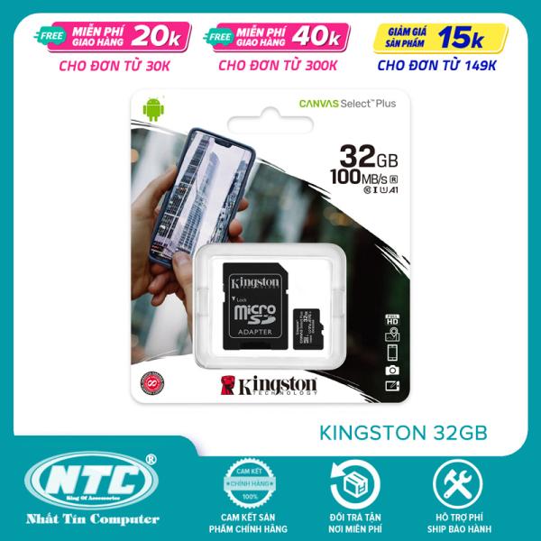 Thẻ nhớ MicroSDHC Kingston Canvas Select Plus 32GB U1 V10 A1 100MB/s (Đen) - Kèm Adapter - Nhất Tín Computer