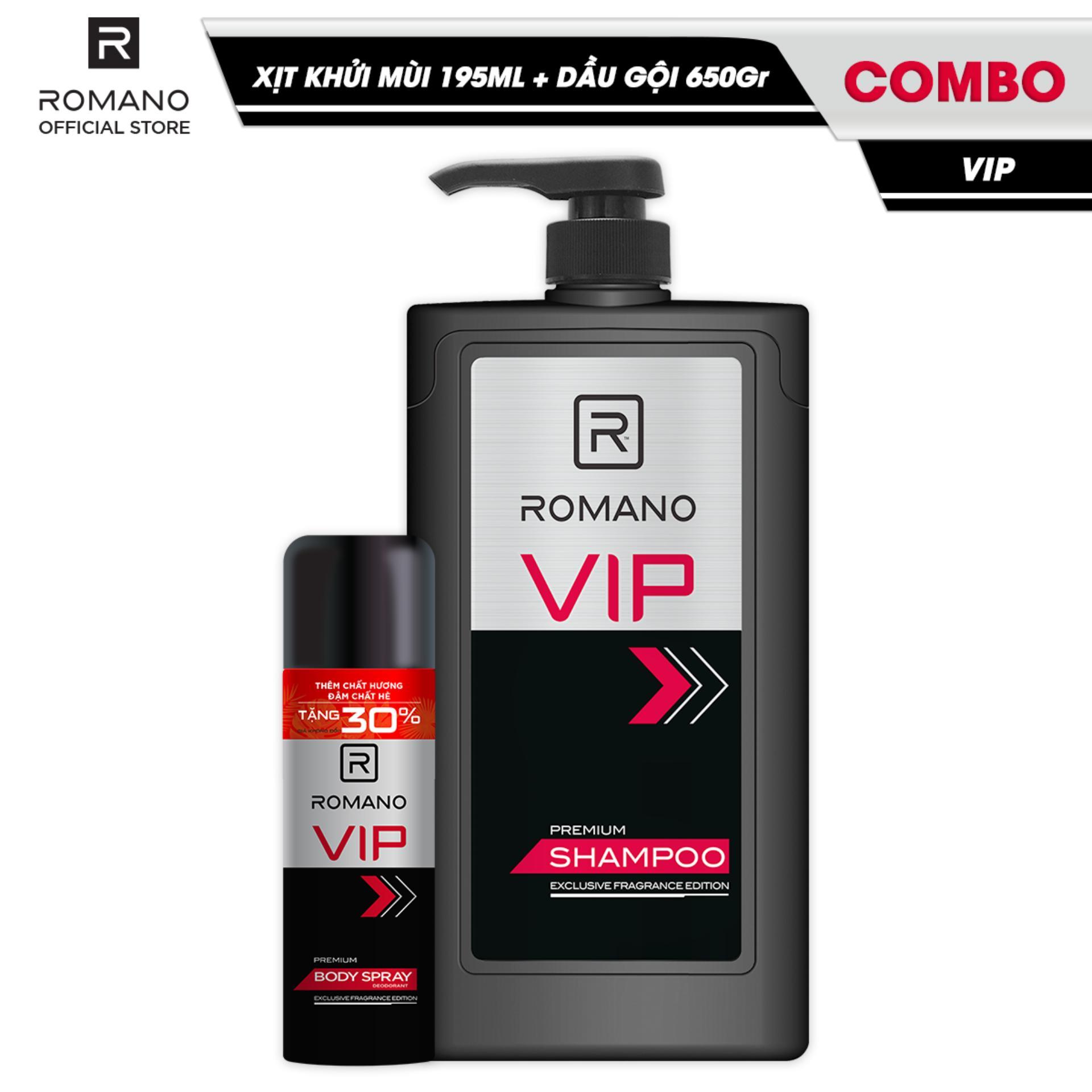 Combo Romano Vip: Xịt toàn thân sang trọng đẳng cấp ngăn mồ hôi mùi cơ thể 195ml và dầu gội cao cấp tóc chắc khỏe 650g