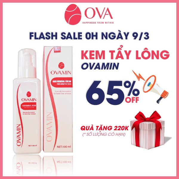 Kem tẩy lông OvaMin - triệt lông chân, tay, bikini, vùng kín, an toàn và không gây kích ứng da, 100ml