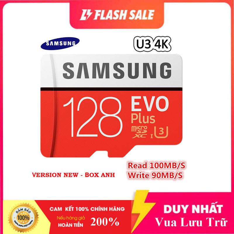 Thẻ nhớ MicroSDXC Samsung Evo Plus 128GB U3 4K R100MB/s W60MB/s - box Anh New 2020 (Đỏ) + Kèm Adapter