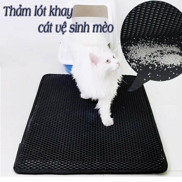 Thảm lót khay cát vệ sinh 40X50cm cho mèo chống bắn cát