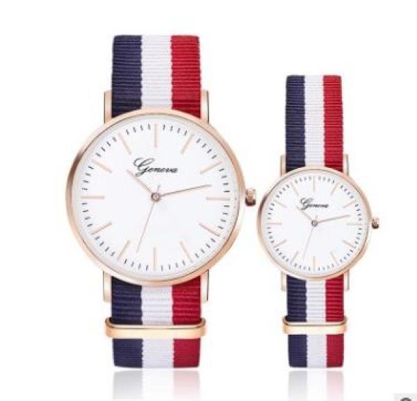 Nơi bán Đồng hồ cặp nam nữ dây vải 3 sọc (đỏ-xanh-trắng)