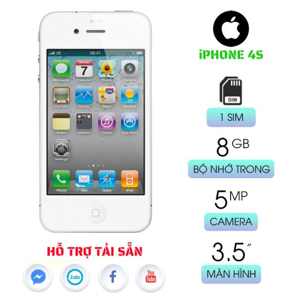 Điện thoại giá rẻ IP 4S 90% - Màn hình IPS LCD 3.5 inch - Bộ nhớ trong: 8GB hoặc 16 GB, 512MB RAM Camera: 8MP, LED flash, panorama, HDR Hỗ trợ: 3G/Wifi - Bảo hành 12 tháng