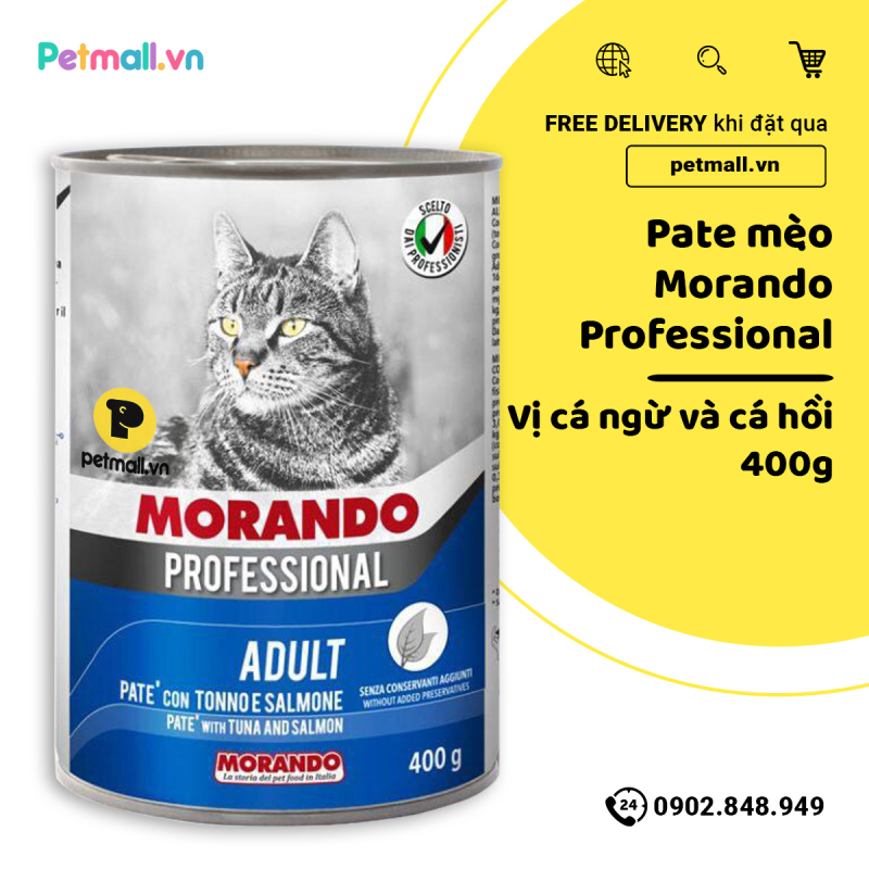 Pate mèo Morando vị cá ngừ & cá hồi 400g petmall
