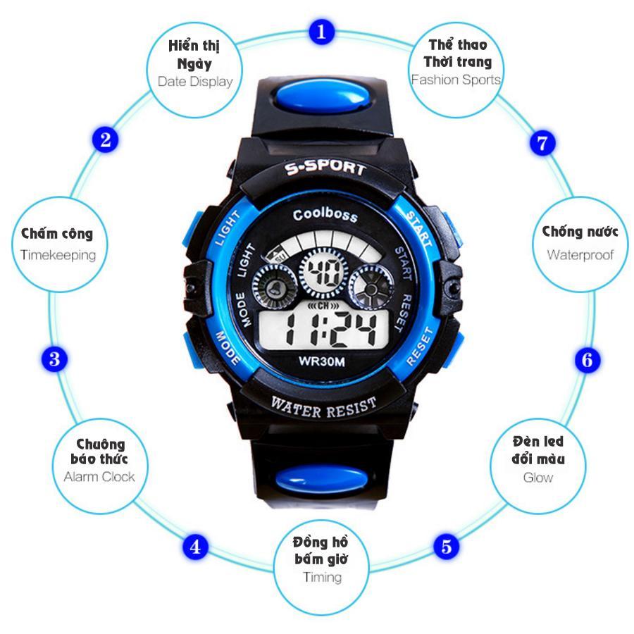 Bộ 3 Đồng hồ trẻ em dây nhựa chống nước (Xanh Đen) bán chạy