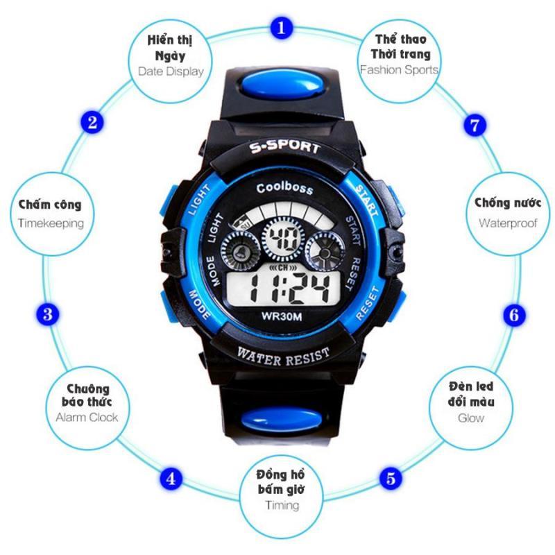 Nơi bán Bộ 3 Đồng hồ trẻ em dây nhựa chống nước (Xanh Đen)