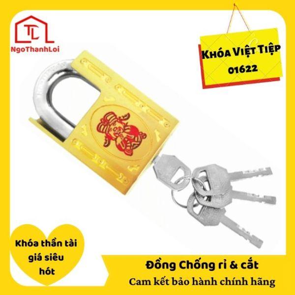 [SIÊU PHẨM] Ổ Khóa treo Việt Tiệp 01622 bấm không cần chìa, chống cắt, đồng vàng có bán tại Ngô Thành Lợi