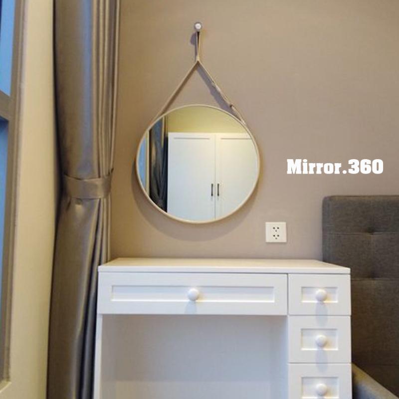 (Size 50cm) Gương Tròn Treo Tường Viền Da Simili (Màu trắng). Tặng kèm phụ kiện treo gương.