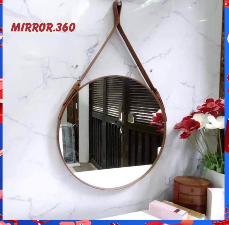 (Size 60cm) Gương Tròn Treo Tường Viền Da Simili (Màu Nâu sậm). Tặng kèm phụ kiện treo gương.