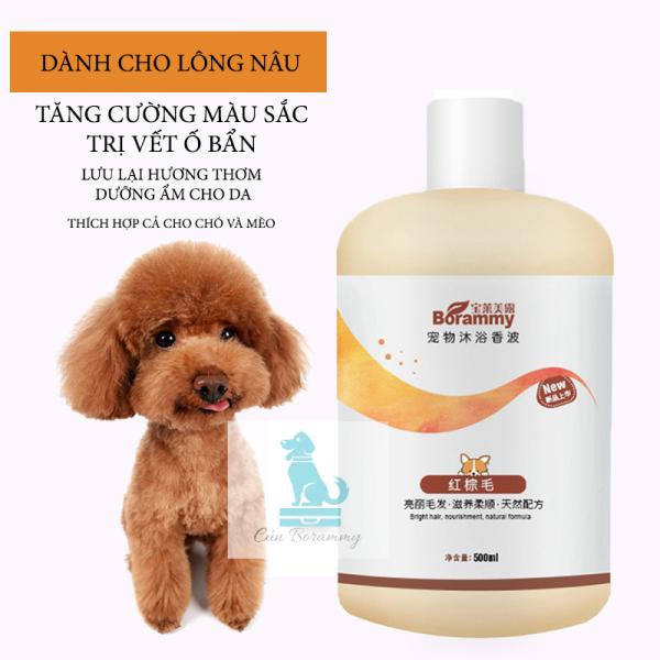 Sữa tắm cho chó mèo BORAMMY 500ml dành cho lông nâu đỏ - Sữa tắm cho thú cưng dưỡng chất hoa hồng có độ nhớt thấp dễ xoa và tạo bọt loại bỏ vi khuẩn ve bọ chét