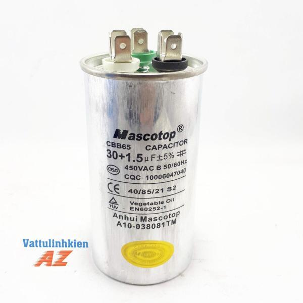 Tụ điện kép CBB65 30+1.5mF +5% ( Dùng cho block điều hòa)