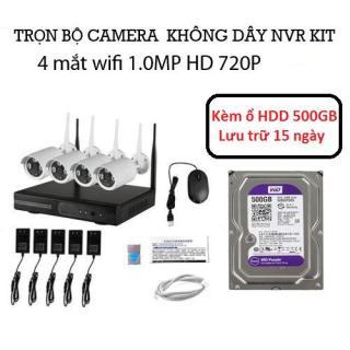 Trọn bộ đầu ghi NVR kit wifi 4 mắt camera wifi 1.0M 720P Kèm ổ HDD 500GB - Bảo hành 12 tháng thumbnail