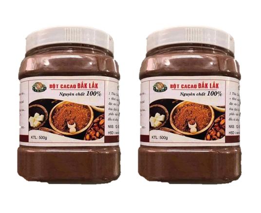 Bộ 2 hộp (mỗi hộp 500gr) bột cacao Dăk Lăk nguyên chất 100% loại đặc biệt mùi vị thơm ngon đậm đà không chứa đường