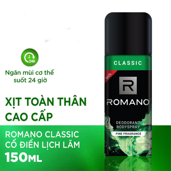 [MẪU MỚI ] Xịt khử mùi toàn thân cho Nam Romano Classic 150ml Xịt toàn thân Romano 150ml