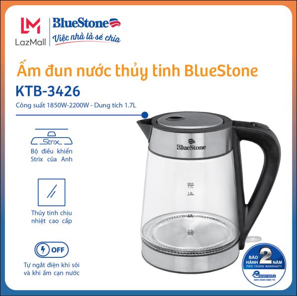 Ấm Đun Nước Thủy Tinh BlueStone KTB-3426 (1.7 Lít) -Bảo hành 2 năm - Hàng Chính Hãng