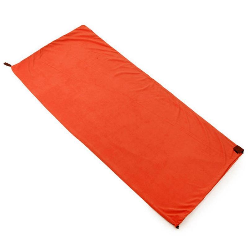 Single-Side Fleece Sleeping Bag Portable Outdoor Camping Sleeping Bag Ultralight Sleeping Bag Liner Sleeping Bag Camping(Orange)