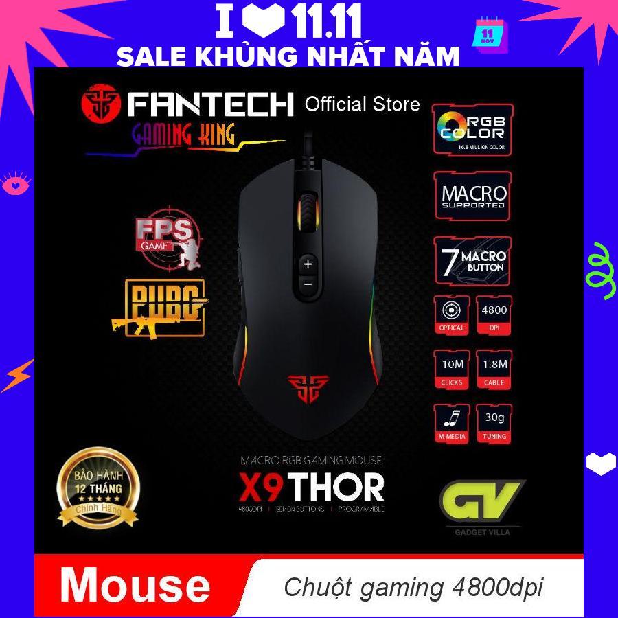 Chuột Gaming Macro RGB 4800dpi Với 7 Chế độ Tùy Chình Fantech X9- Hãng Phân Phối Chính Thức Giảm Cực Hot