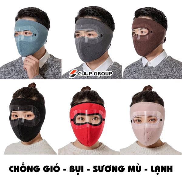 Giá bán Khẩu trang Ninja có kính bảo vệ mắt kín mặt vải nỉ chống gió - bụi - sương mù - lạnh dán gáy che kín tai chạy xe phượt nam nữ