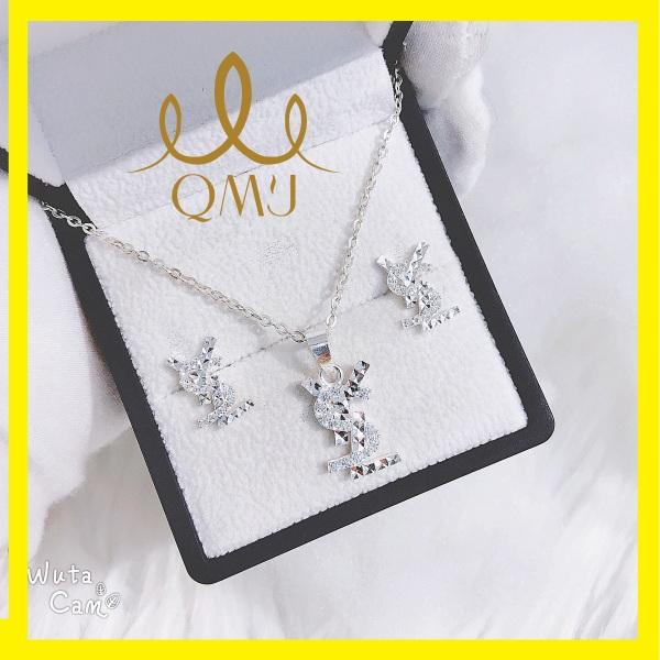 Bộ bạc nữ đẹp QMJ YSL Trang sức thời thượng bạc 925 cao cấp, [CHUẨN BẠC] QB013