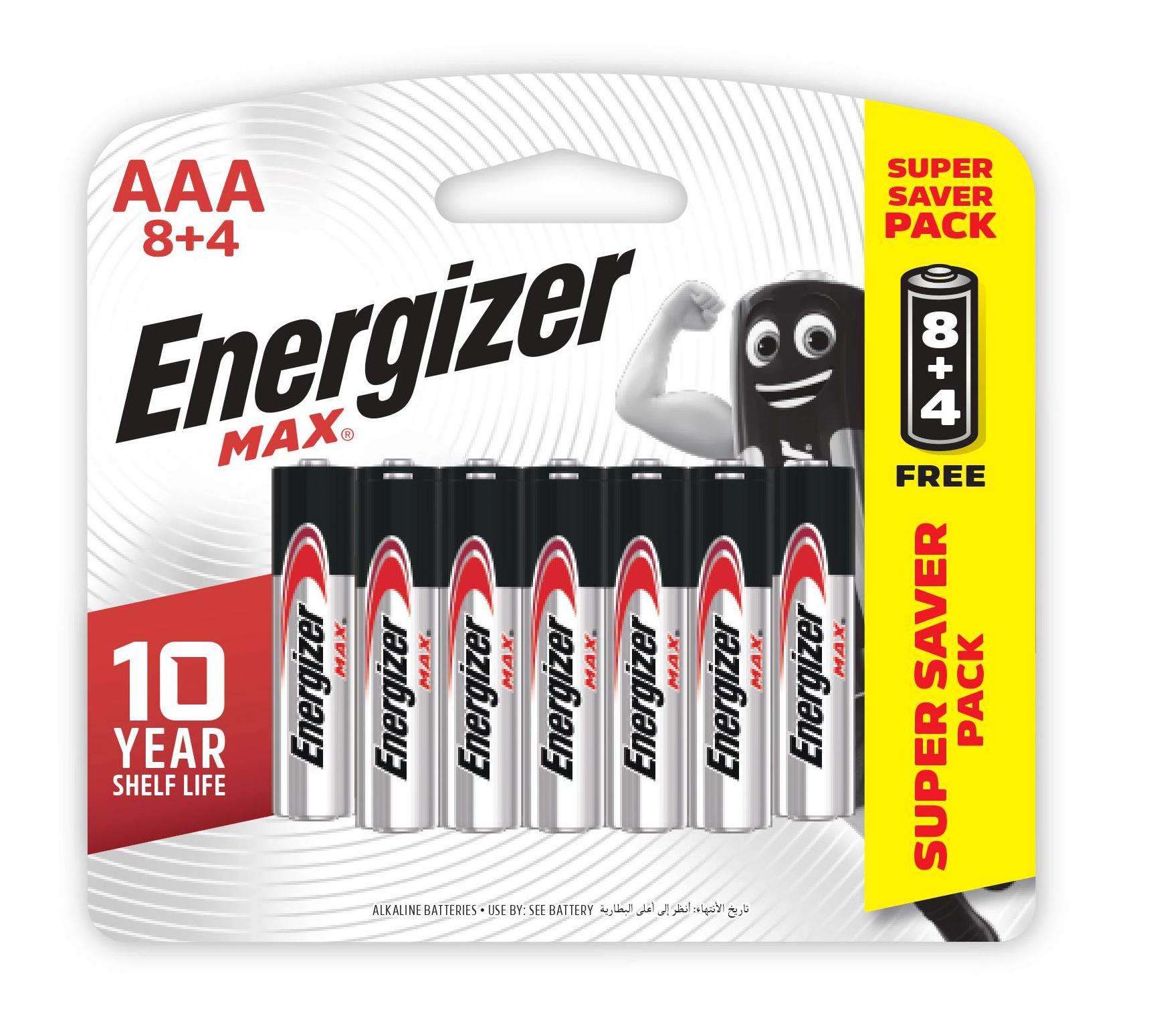 Pin Energizer Max AAA E92 BP8+4, để xa tầm tay của trẻ em, pin kiềm, hiệu điện thế 1,5V, thay pin cùng lúc cùng loại