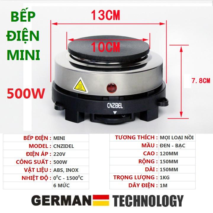 Bếp điện mini 500w nắp gang, sử dụng rất dễ dàng với các nút xoay tăng giảm nhiệt độ, mặt thép cho phép lau chùi dễ dàng, kích thước gọn gàng