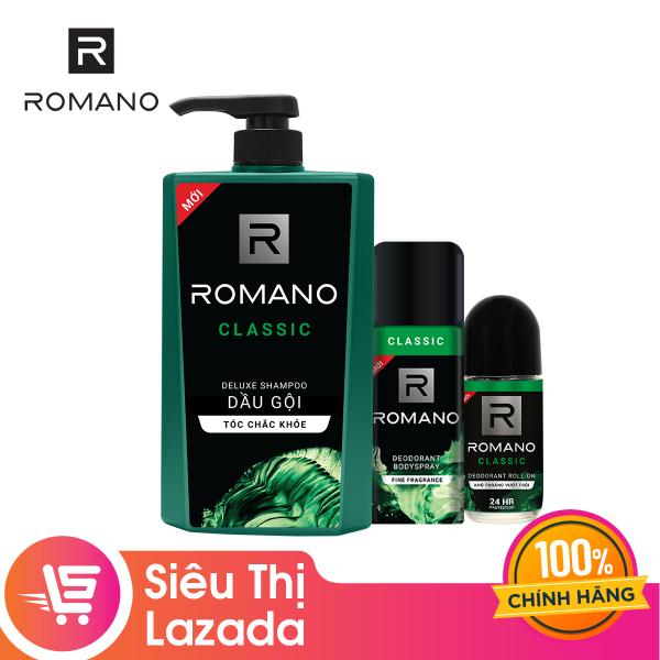 Combo Romano: Dầu gội  650g + Lăn ngăn mùi 50ml + Xịt khử mùi 150ml – Classic
