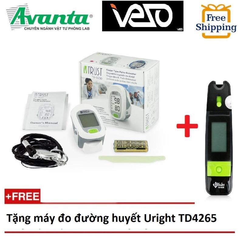 [Tặng máy đo đường huyết Uright TD4265] Máy đo nồng độ ô-xi bão hoà và nhịp tim VTRUST TD8250 + Bảo hành 2 năm bán chạy