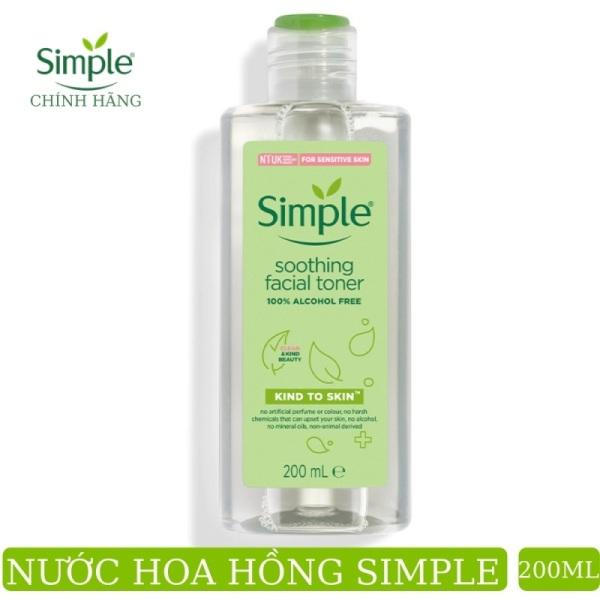 [Mẫu mới]Nước Hoa Hồng Không Cồn Làm Dịu Da Simple Kind To Skin Soothing Facial Toner 200ml cao cấp
