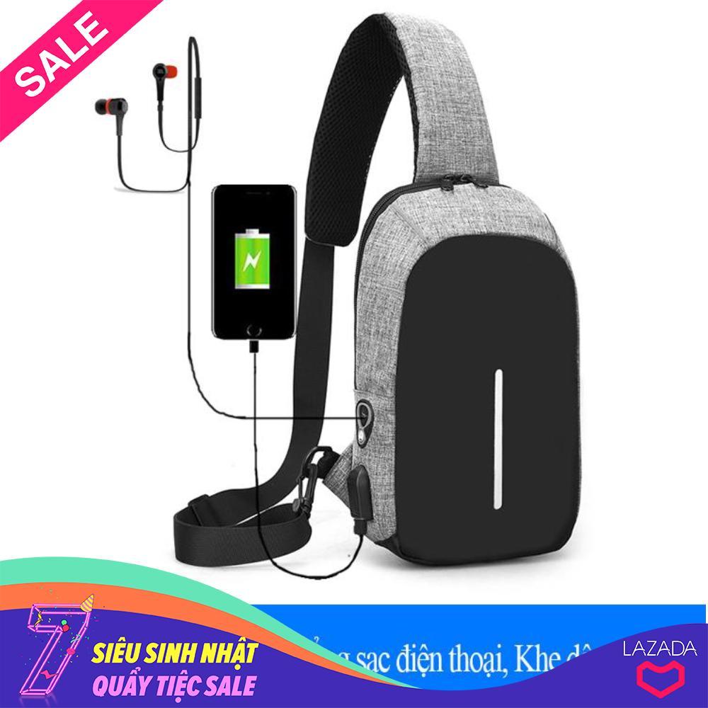 Túi đeo chéo CỔNG SẠC USB và Khe tai nghe - Chống trộm, chống thấm vừa IPAD