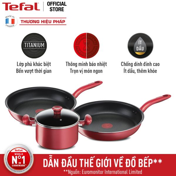 Combo Tefal So Chef Chảo chiên chống dính đáy từ G1350295 21cm, Nồi chống dính đáy từ G1354595 22cm và Chảo chiên chống dính đáy từ G1358495 24cm sâu lòng