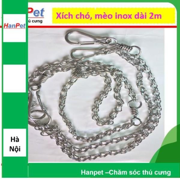 Xích Inox chống xoắn dài 2m , dùng cho chó, mèo dưới 10kg (hanpet 325)