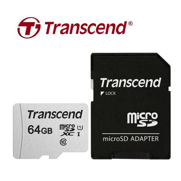 Thẻ nhớ Transcend MicroSDXC 300S C10 U1 V30 A1 95MB/45MB/s 64GB Kèm Adapter - Hàng Chính Hãng