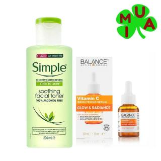 Combo Serum vitamin C balance và Nước hoa hồng simple sáng da, sạch mụn, cấp ẩm thumbnail